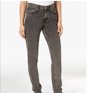 New $90 Calvin Klein black washed mid rise jeans